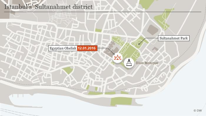 Explosion im Instanbuler Stadtteil Sultanamet Karte Infografik ENG
