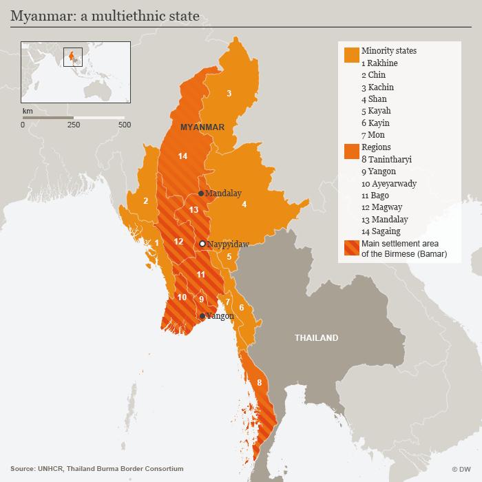 Sebaran minoritas etnis di Myanmar yang kebanyakan berdiam di bagian barat dan timur. Sementara kawasan sentral didominasi oleh warga etnis Bamar yang mayoritas.