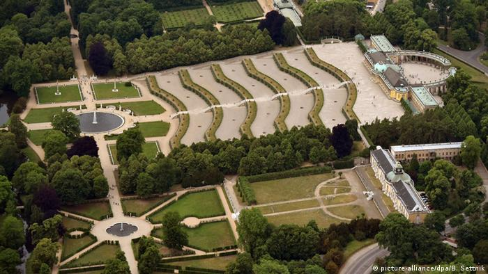 Potsdam aerial view of Sanssouci Palace and gardens