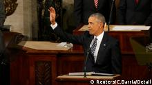 U.S. President Barack Obama waves as he arrives at the podium to deliver his State of the Union address to a joint session of Congress in Washington, January 12, 2016. REUTERS/Carlos Barria (c) Reuters/C.Barria//Detail