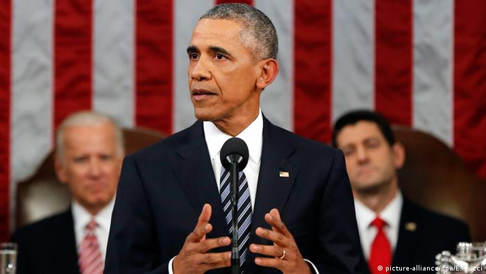 US-Präsident Barack Obama bei seiner Rede zur Lage der Nation in Washington (picture-alliance/dpa/E. Vucci)