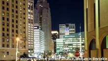 Downtown Detroit bei Nacht, , Michigan, USA. 28.10.2014