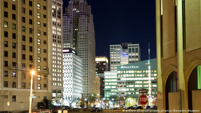 Downtown Detroit at night