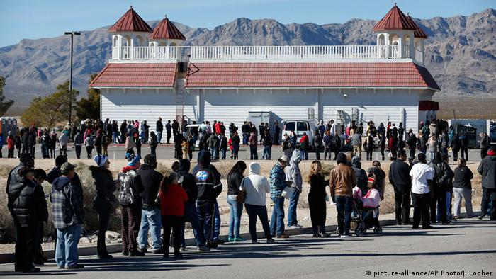 Patrons line up to buy Powerball lottery tickets outside the Primm Valley Casino Resorts Lotto Store just inside the California border