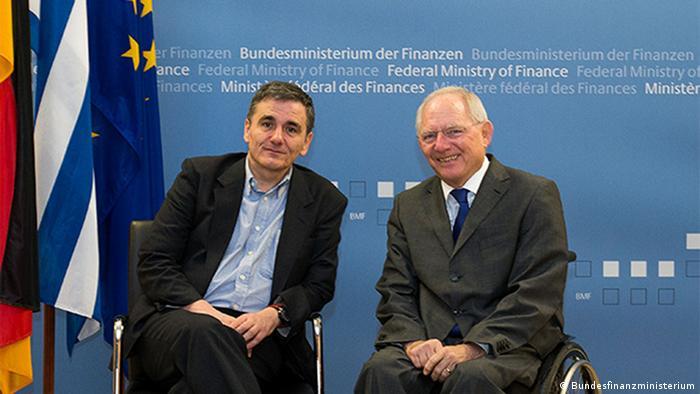 Deutschland, Euklid Tsakalotos mit Bundesfinanzminister Wolfgang Schäuble