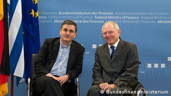 Greek finance minister Euklid Tsakalotos with his German counterpart Wolfgang Schäuble