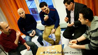 The Finnish Refugee Council organizes peer group meetings for refugees arriving in Finland.