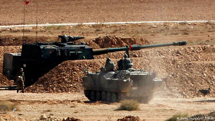 Турецкие танки в районе города Кобане в Сирии