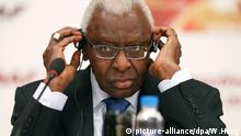 IAAF President Lamine Diack attends a press conference after the IAAF Council and IOC Executive Board meeting at Intercontinental Beijing Beichen Hotel in Beijing city, China, 21 August 2015. (picture-alliance/dpa/W.Hong)