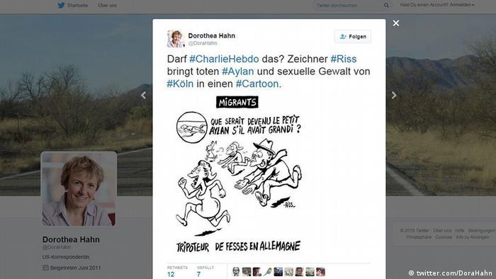 Charlie Hebdo caricature screenshot Twitter