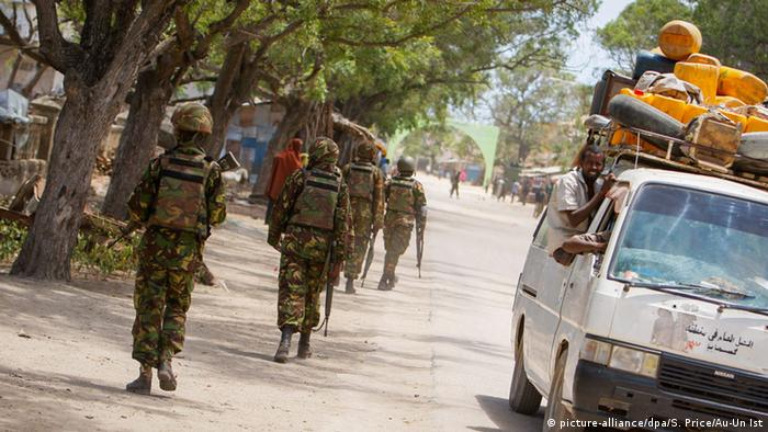 Kenyan soldiers are deployed in Somalia to support the AU mission