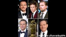 Die Bildkombo zeigt die Schauspieler Michael Fassbender (oben, l-r), Eddie Redmayne und Leonardo DiCaprio, sowie Matt Damon (unten, l) und Bryan Cranston. Die fünf Schauspieler wurden am 14.01.2016 in Los Angeles für den Oscar als beste Darsteller nominiert. Die Oscar-Trophäen werden am 28. Februar 2016 in Hollywood zum 88. Mal vergeben. Fotos: EPA/dpa +++(c) dpa - Bildfunk+++