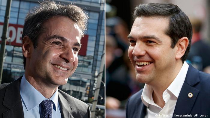Griechenland Bildkombo Kyriakos Mitsotakis und Alexis Tsipras