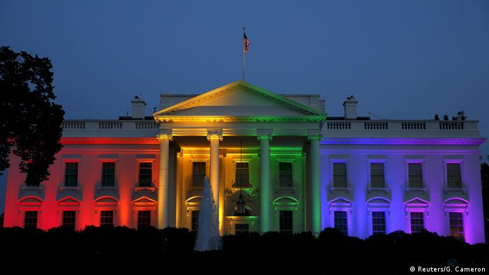 The White House lit in rainbow colors (Reuters/G. Cameron)