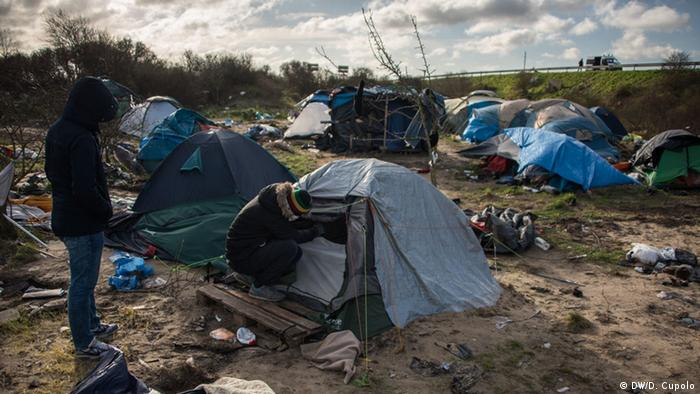Refugee shacks and tents in Calais