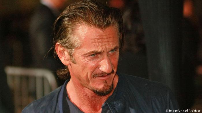 Close-up of Sean Penn with a very tanned face.