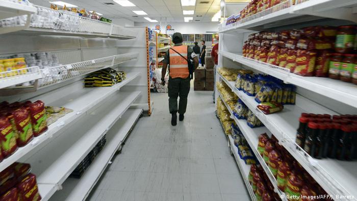 Prateleiras vazias na Venezuela