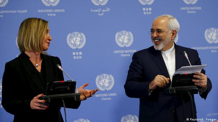 EU foreign policy chief Federica Mogherini and Iranian Foreign Minister Mohammad Jawad Zarif
