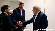 16.01.2016 *** U.S. Secretary of State John Kerry shakes hands with Iranian Foreign Minister Mohammad Javad Zarif, right, after the International Atomic Energy Agency (IAEA) verified that Iran has met all conditions under the nuclear deal, in Vienna, Austria, Saturday Jan. 16, 2016. U.S. Secretary of State, John Kerry confirms Iran in compliance with nuclear deal and lifts US nuclear-related sanctions. (Kevin Lamarque/Pool via AP) © picture-alliance/K. Lamarque via AP