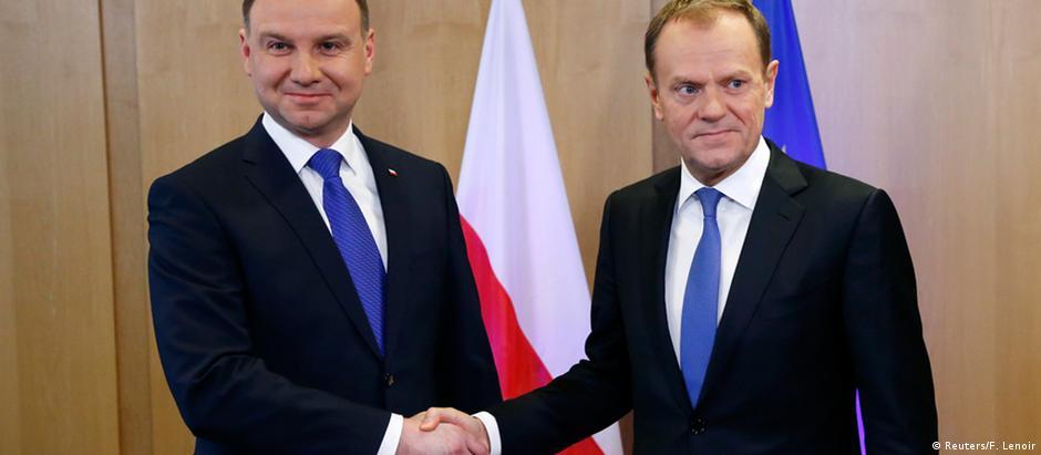 Duda (e) e Tusk se encontraram em Bruxelas para debater mau estar entre a Polônia e a União Europeia