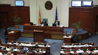 Mazedonien das Parlament stimmt für die Selbstauflösung