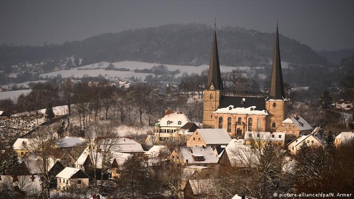 Deutschland Winterlandschaft Nemmersdorf Bayern