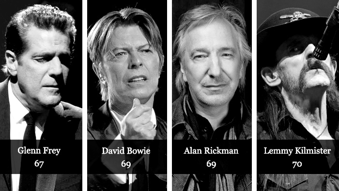 Dead artists: Glenn Frey, David Bowie, Alan Rickman, Lemmy Kilmister