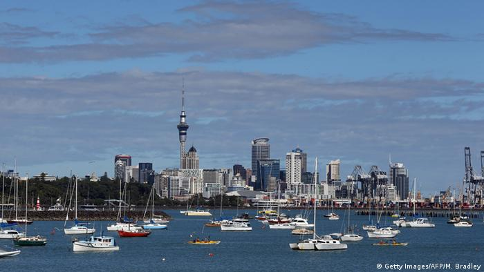 Auckland skyline in New Zealand
