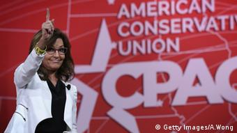 Former Alaska Governor Sarah Palin acknowledges the crowd after she addressed the 42nd annual Conservative Political Action Conference (Getty Images/A.Wong)