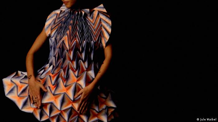 Model wearing a paper dress designed by Jule Waibel (Photo: Jule Waibel)