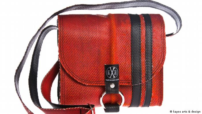 Bag out of a red fire hose designed by 'kayos arts & design' (Photo: kayos arts & design)