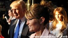 FILE - In this May 31, 2011 file photo, Donald Trump walks with former governor of Alaska Sarah Palin in New York City. The Republican presidential front-runner Trump received a key endorsement from conservative heavyweight Sarah Palin, Tuesday, Jan. 19, 2016. (AP Photo/Craig Ruttle, File) picture-alliance/AP Photo/C. Ruttle