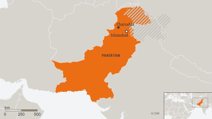 Map showing Charsadda in northwestern Pakistan