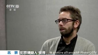 China Schweden Peter Dahlin Menschenrechtler festgenommen (picture-alliance/AP Photo/CCTV)