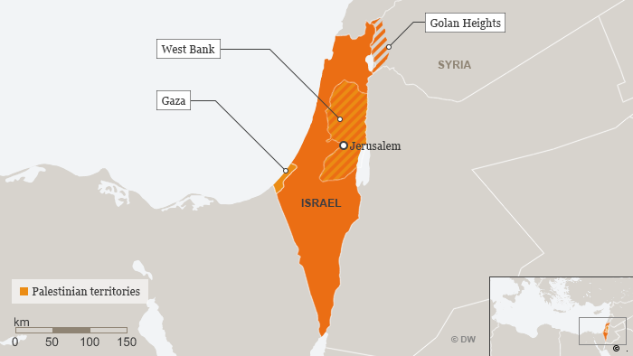 Map showing Golan Heights
