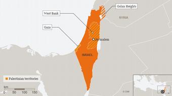 Karte Israel Palästinensische Autonomiegebiete Golan Englisch