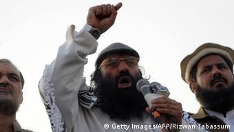 Syed Salahuddin, chairman of the 16-party United Jihad Council, who is also supreme commander of the hardline Hizbul Mujahedin group, addresses the demonstrators during a protest to mark Kashmir Solidarity day in Karachi on February 5, 2015 (Photo: RIZWAN TABASSUM/AFP/Getty Images)