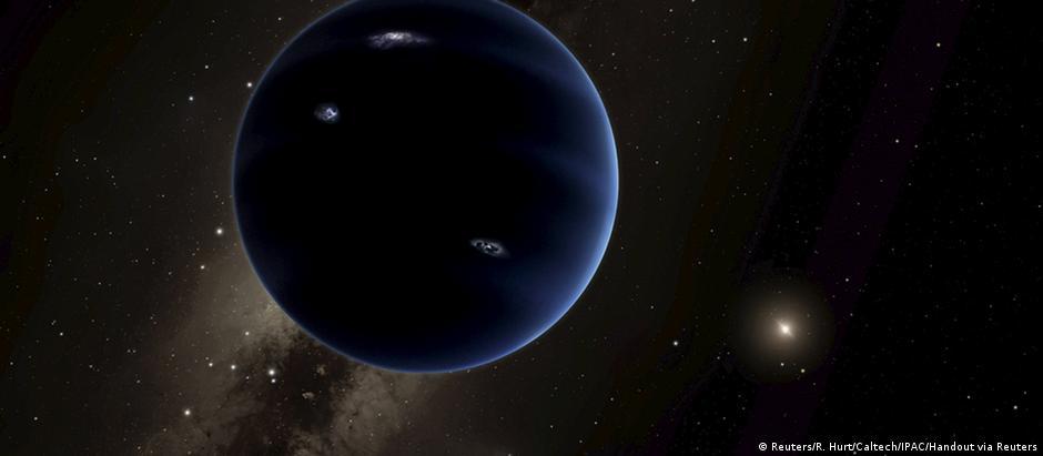 """Imagem de como poderia ser o """"Planeta Nove"""", que não foi observado pelos cientistas"""