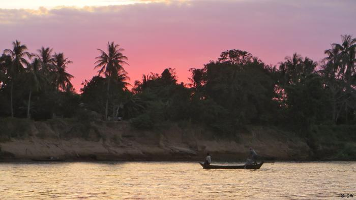 Sunset on the Mekong River in Southeast Asia