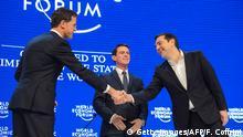 Schweiz Weltwirtschaftsforum 2016 Davos Manuel Valls Tsipras und Rutte