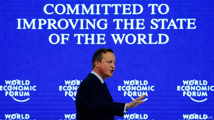 British PM David Cameron at the 2016 World Economic Forum in Davos