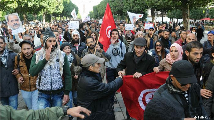 Crowds of demonstrators marched through the streets of Tunis