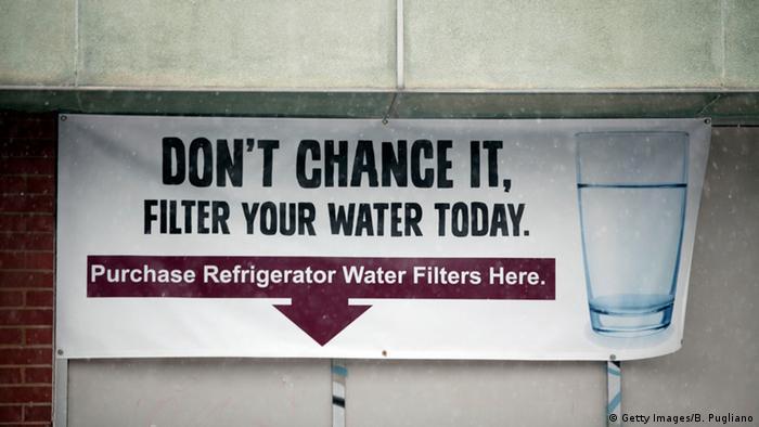 USA Trinkwasser in der Stadt Flint vergiftet Plakat