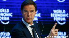 21.01.2016+++ The Netherlands' Prime Minister Mark Rutte gestures during the session 'The Future of Europe' at the annual meeting of the World Economic Forum (WEF) in Davos, Switzerland January 21, 2016. REUTERS/Ruben Sprich +++ (C) Reuters/R. Sprich