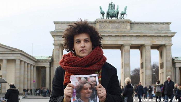 Anhänger der Free Ahmed Said-Kampagne vor Brandenburger Tor (Foto: Free Ahmed Said Campaign, Cairo)