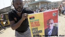 Demonstration für politischen Aktivisten Nwannekaenyi Nnamdi Kenny Okwu Kanu