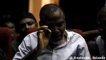 Indigenous People of Biafra (IPOB) leader Nnamdi Kanu is seen at the Federal high court Abuja, Nigeria January 20, 2016. REUTERS/Afolabi Sotunde Copyright: Reuters/A. Sotunde
