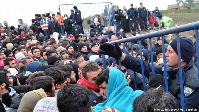 Беженцы на сербско-хорватской границе