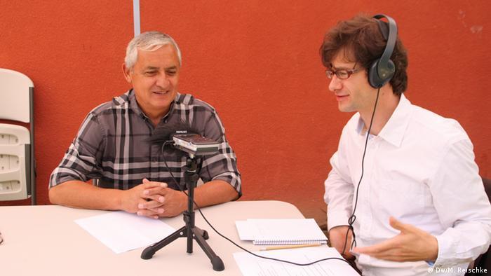 El expresidente Otto Pérez Molina durante la entrevista con Martin Reischke