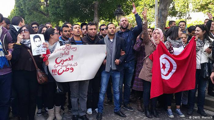 Demonstration in Tunis: Nachricht an die Regierung der Welt: Kasserine ist auf der Flucht und braucht eine Heimat (Foto: DW/Sarah Mersch)